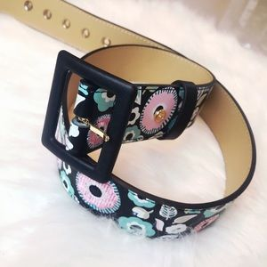 Women's Floral Embroidered Black And Pink Belt